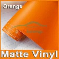 Gratis verzending hoge kwaliteit 30 M/partij oranje Matte Vinyl Wrap met Air release Satijn Matt Zwart Folie Wrap Film auto Sticker