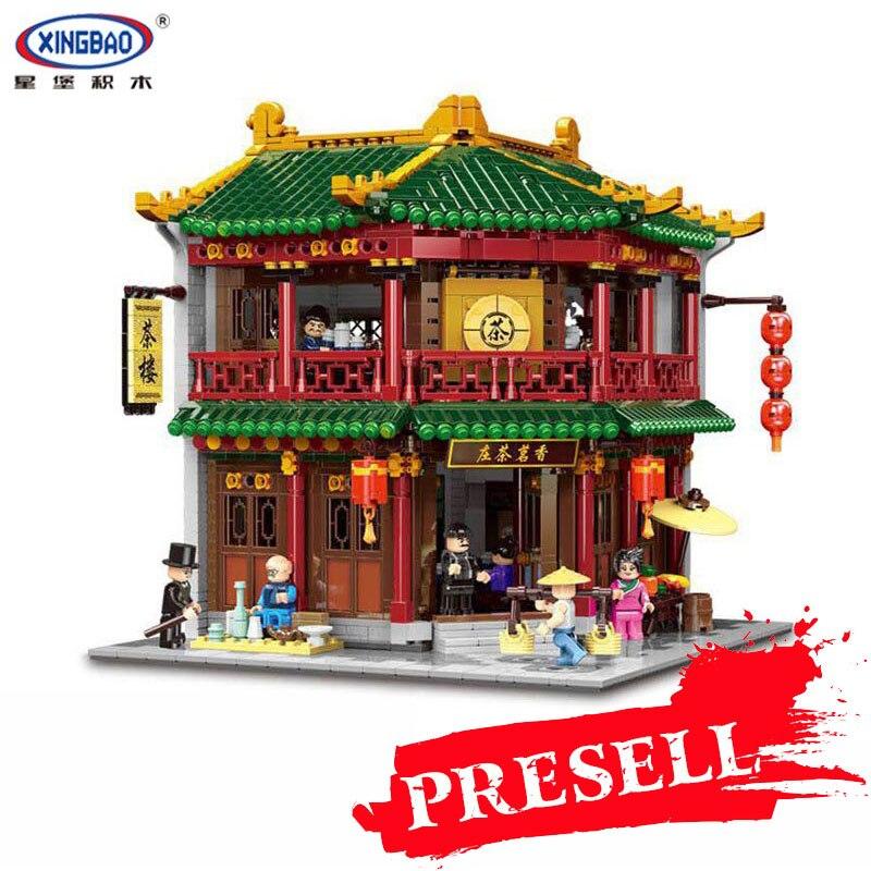 XINGBAO 01021 3033Pcs Chinese Building Series The Toon Tea House Set Building Blocks Bricks Educational Toys Kids DIY Birthday