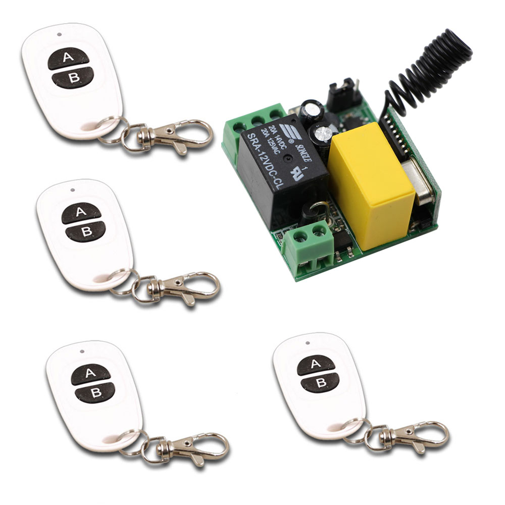 Smart Home AC220V Receiver&4pcs White Transmitter RF Wireless Mini Remote Control Switch 1CH 10A for Light Lamp 315/433mhz new design wireless ac220v remote control switch with manual button receiver for smart home 315 433mhz free shipping
