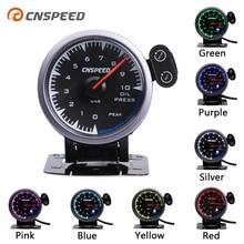 CNSPEED 7 renk 60mm yağ basınç göstergesi ölçer sensörü araba yarışı pointer yağ basın ölçer için 12V LED honda otomatik göstergesi araba metre