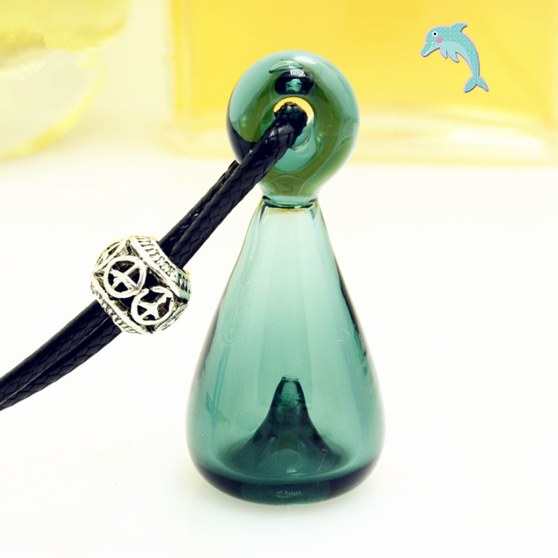 SAMBETTE 1PC Diffuser Perfume Glass Essential Oil Bottle Necklace Oil Bottle Pendant Noctilucent Necklace Send Free Injector himabm natural amethyst perfume bottle scent bottle essential oil bottle can volumetric flask birthday