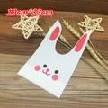 50pcs Cute Easter Bunny Cookies Bag Kawaii Rabbit Ear Plastic Candy Bag Easter Decorations