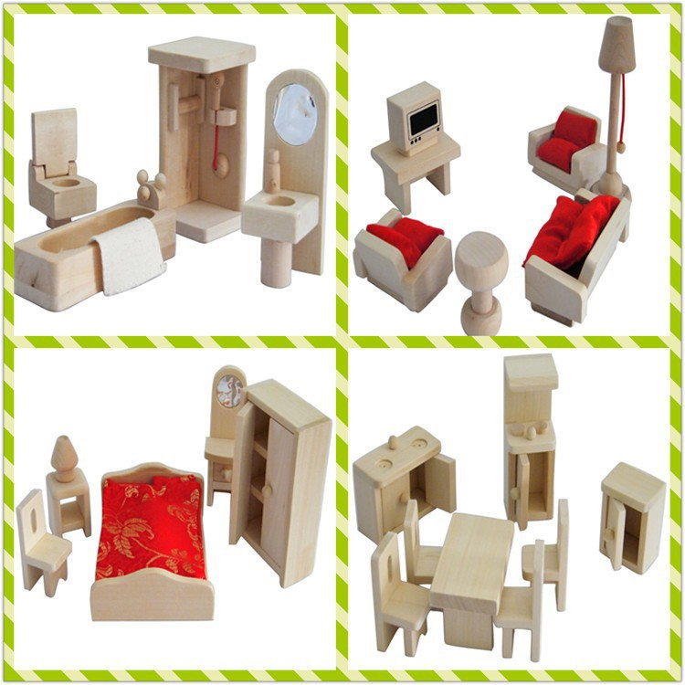 mini wood simulation 4setlot dollshouse kitchenbedroombathroomlounge furniture sets bed desk set