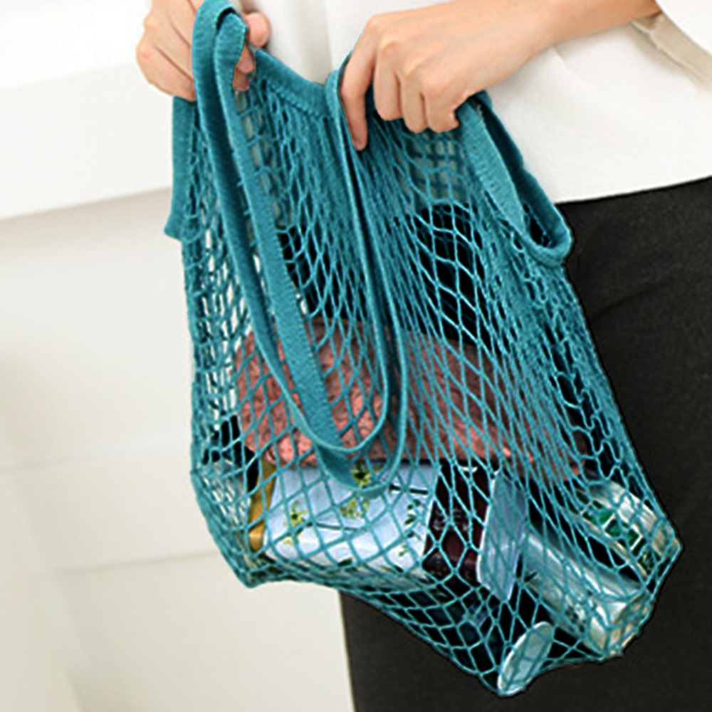 Fishnet Shopping Bags Shopper Tote Mesh Net Woven Cotton Shoulder Bag Fashion Beach Bag