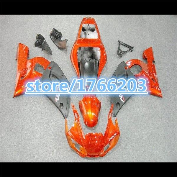 Kit de carénage noir Orange pour YZF-R6 98-02 YZF R6 98 99 00 01 02 Orange noir YZF 600 R6 1998-2002 pièces de carénage