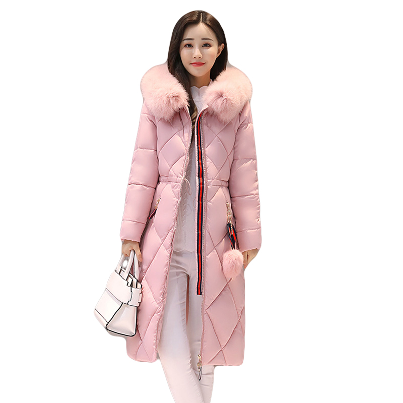 2017 Long Parkas Women Large Fur Collar Hooded Jacket Female Warm Winter Coat Outwear Thick Padded Cotton Coat Plus Size CM1395 women winter cotton padded jacket warm slim parkas long thick coat with fur ball hooded outercoat female overknee hoodies parkas