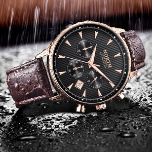 Image 4 - גברים שעון עסקי יוקרה אופנה לוח שנה ספורט מקרית זכר קוורץ שעוני יד עור אמיתי תכליתי גברים של מתנה שעונים