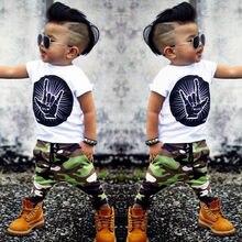 dca4b6ecbdc7 Stylish Hip Pop Kids Boys Print Tops T-shirt + Camouflage Pants Outfits  Clothes 2Pcs