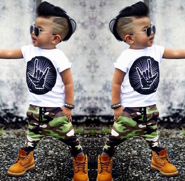 0c7bca35c9a8 Stylish Hip Pop Kids Boys Print Tops T-shirt + Camouflage Pants Outfits  Clothes 2Pcs Set