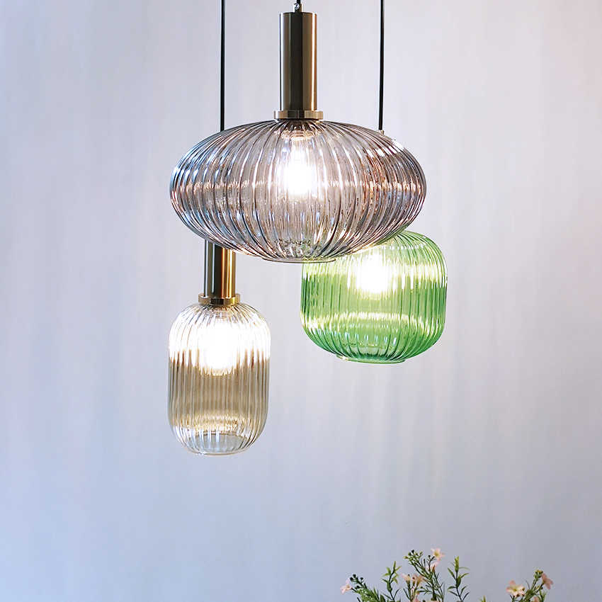 Nordic restaurant pendant lights gray/green/Cognac glass modern hanging lamp bedroom living room kitchen suspension luminaire