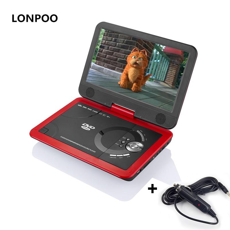 LONPOO Portable DVD Lecteur 10.1 Pivotant Lecteur DVD De Voiture Chargeur jeu RCA DIVX USB Lecteur DVD TV Portatil Lecteur avec batterie