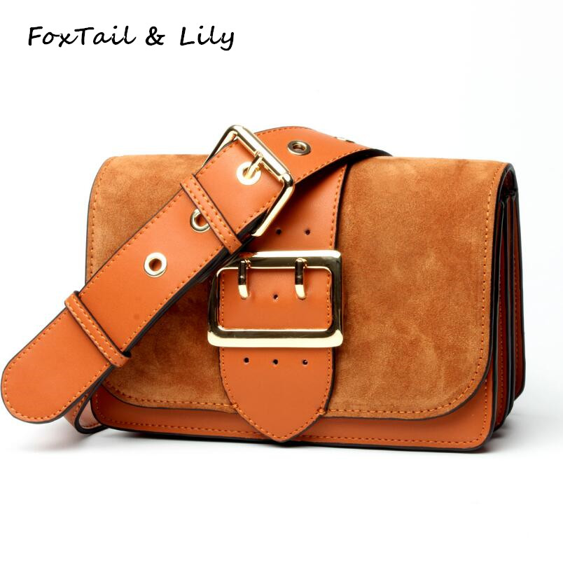 FoxTail & Lily Nubuck Cowhide Handbags Genuine Leather Luxury Designer Small Women Shoulder Messenger Bags Female Crossbody Bag luxury leather handbags for women crossbody shoulder bags designer small clutch purse bag female cowhide messenger bags ladies