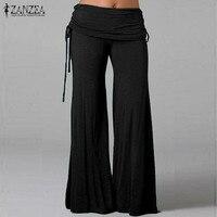 ZANZEA Fashion 2016 Women Pants Comfortable Wide Leg Elastic Waist Pants Female Casual Loose Sport Trousers