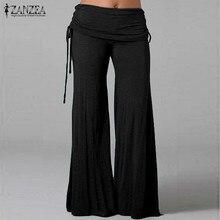 ZANZEA Fashion 2016 Women Pants Comfortable Wide Leg Elastic Waist Pants Female Casual Loose Trousers Plus Size S-4XL