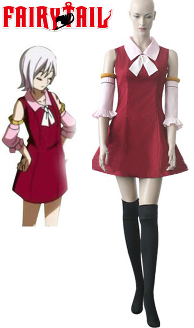 Free Shipping Fairy Tail Youth Lisanna Strauss Red Dress Anime Cosplay  Costume
