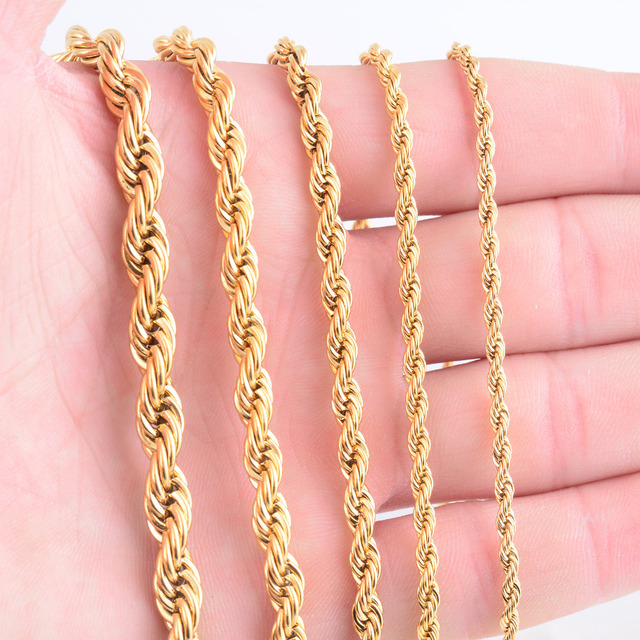 High Quality Gold Plating Rope Chain Stainless Steel Necklace For Women Men Gold Fashion Rope Chain Jewelry Gift 1