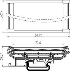 Image 2 - UM72 single DIN Rail Carrier สำหรับ PCB อะแดปเตอร์ PCB housing PCB กว้าง: 72 มม. PCB ความยาวช่วง: 451 มม. ~ 500 มม