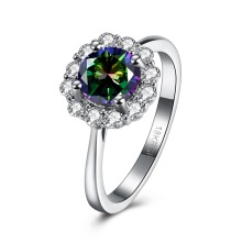 2016 plated White Gold Wedding Ring Flower with CZ Diamond Colored Classic Charm Jewelry for Woman Beautiful and delicate gift
