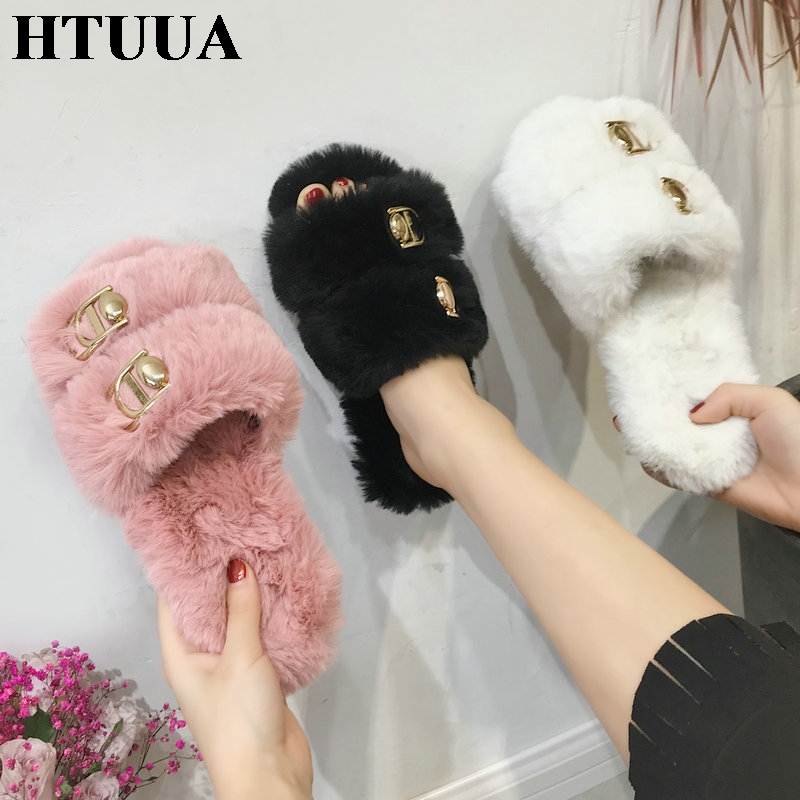d1adda9c8472 HTUUA Soft Fluffy Rabbit Fur Slippers Women Black White Pink Furry Slides  Winter Plush Home Slipper Flat Flip Flops Shoes SX1739-in Slippers from  Shoes on ...