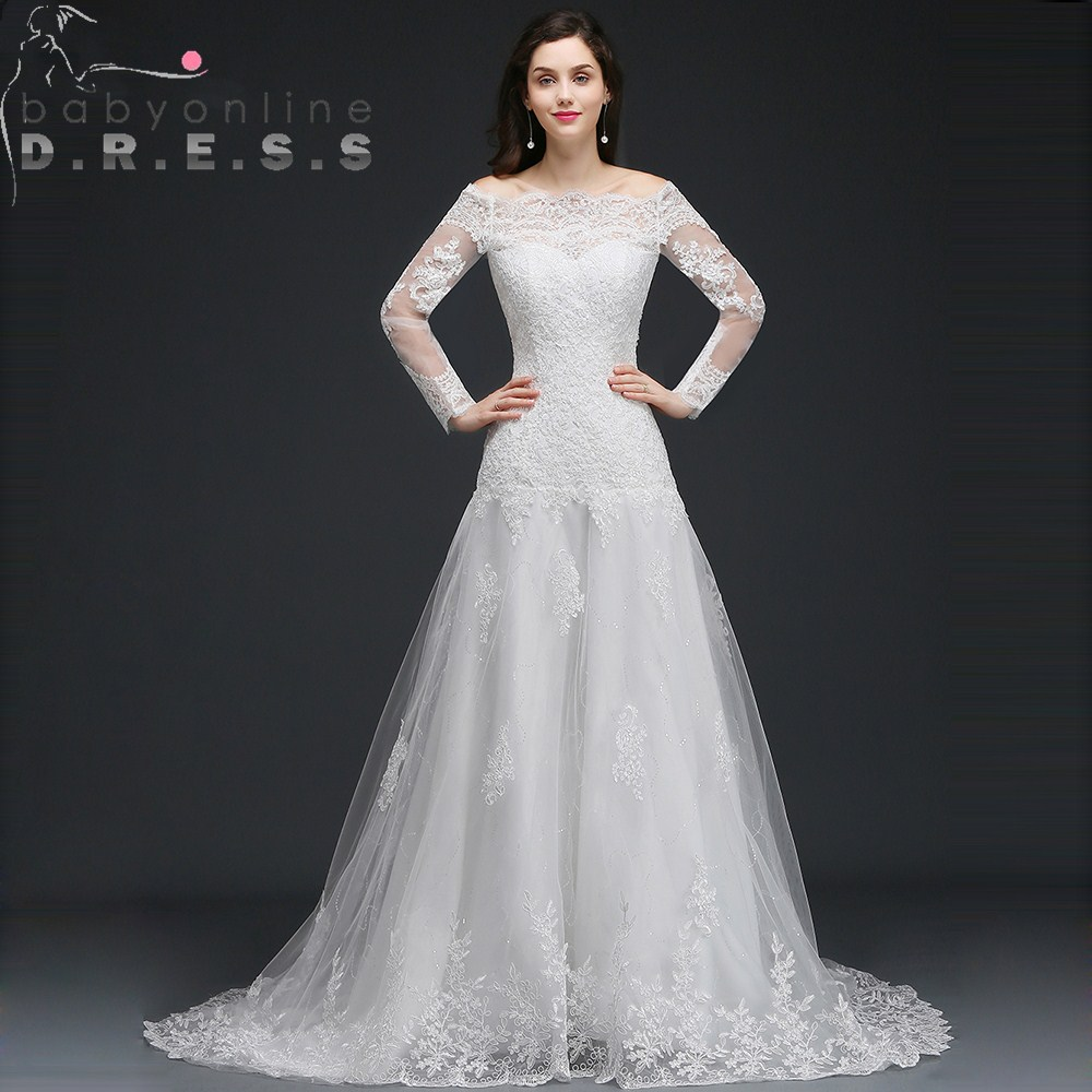 Очаровательные свадебные платья с длинными рукавами и вырезом лодочкой, реальные изображения, Аппликации, кружева, пуговицы сзади, свадебн
