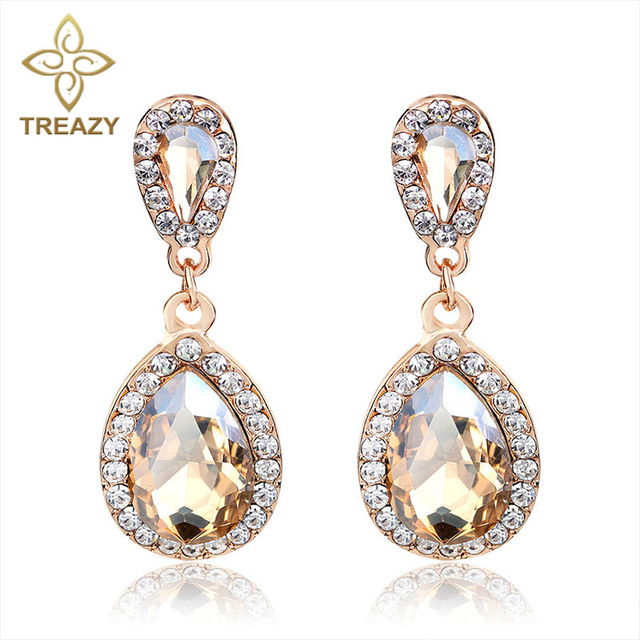 Treazy Brincos Champagne Crystal Earrings For Women Statement Fashion Jewelry Water Drop Dangle