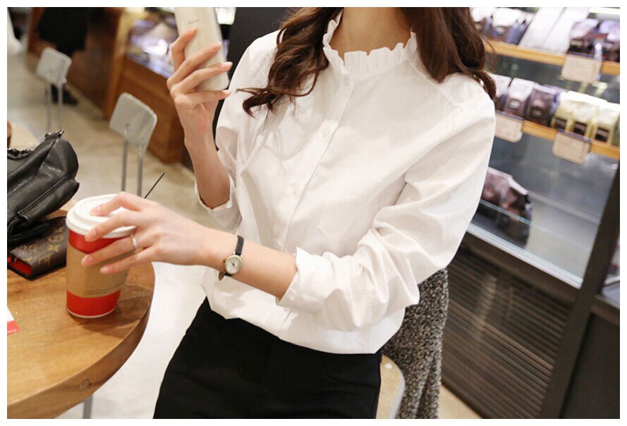 6fb241c724e 2019 100% Cotton Women White Shirt Ruffled Collar Plus Size Women ...