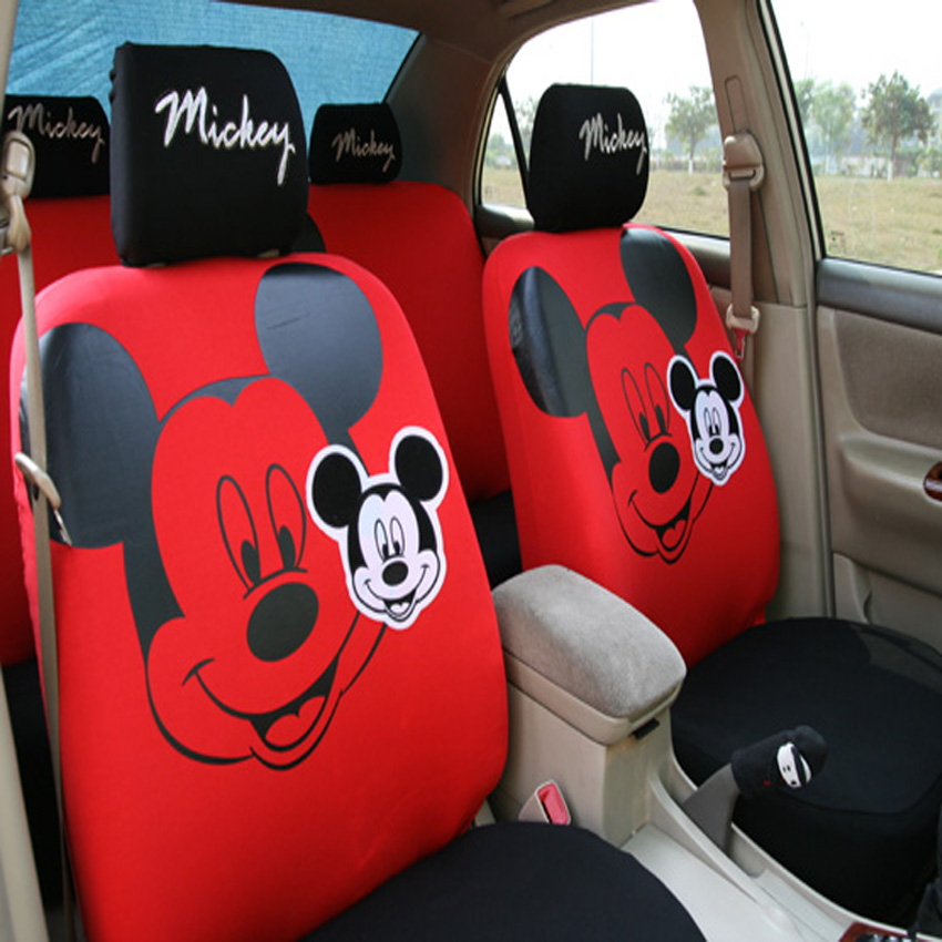 Cute mickey mouse car seat covers four seasons cartoon for Housse de voiture hello kitty