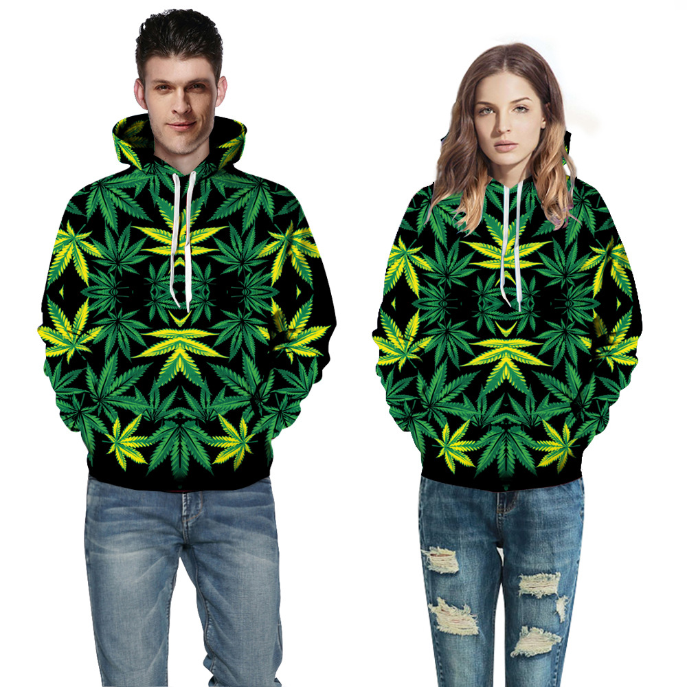 New Harajuku 3D Hoodies Leaves Print Hooded Sweatshirts Unisex Hoody For Men Women Casual Streetwear Tops QL-034