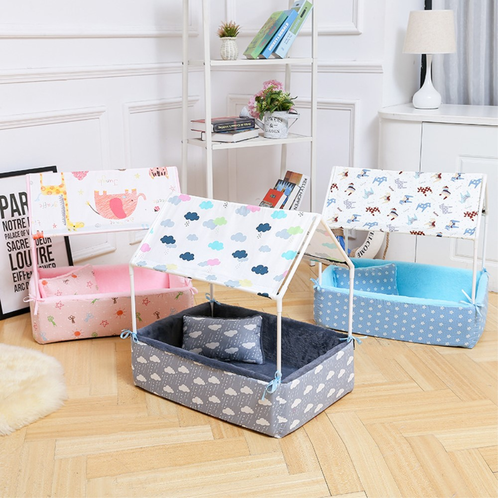 High Quality Cloth Pet Dog Bed Special House Printed Flower Pattern Pet Tent Style With Light Pillow Hot Selling Pet Products