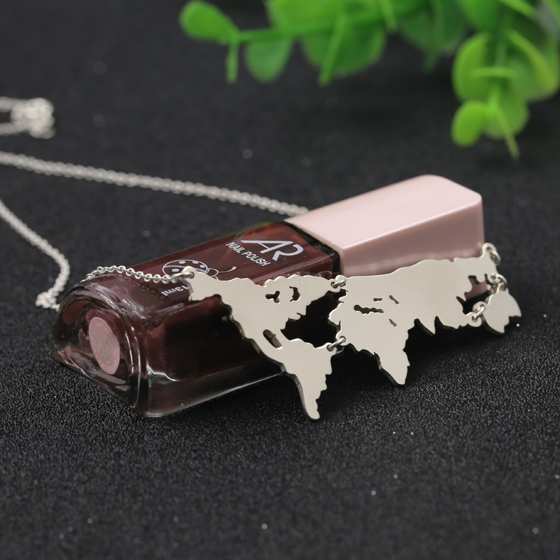 Carte du monde pendentif pur bijoux en argent massif n'importe quel pays ou état peut timbre collier de mode