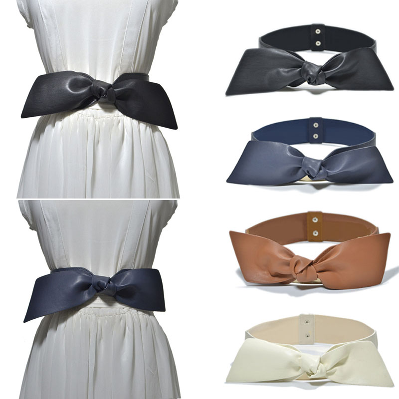 Women Bowknot Decoration Elastic Girdle Belt Wild Wide Imitation Leather Waist Belts NFE99