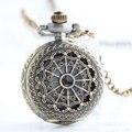 Женские и мужские карманные часы в ретро стиле  бронзовые часы круглой формы с рисунком паутины и цепочкой
