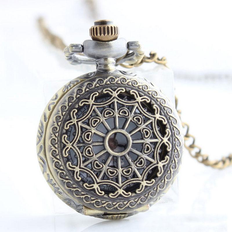 New Women Men Pocket Watch Retro Bronze Tone Round Shape Spider Web Pattern Watches With Chain Necklace Clock