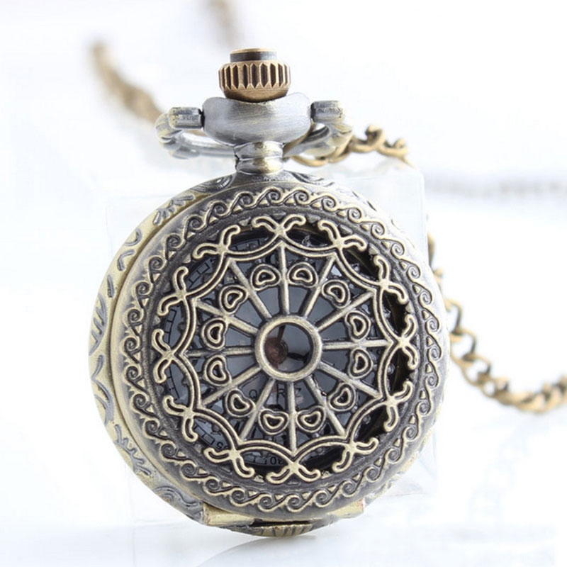 New Women Men Pocket Watch Retro Bronze Tone Round Shape Spider Web Pattern Watches With Chain Necklace Clock