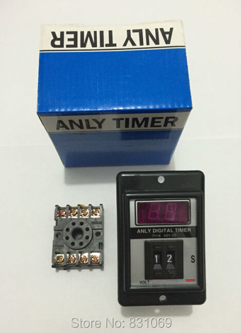 1Set ASY-2D DC12V Power ON Delay Timer Time Relay 1-99  Seconds & Base Brand New black dc 24v power on delay timer time relay 0 1 9 9 second 8 pins asy 2d