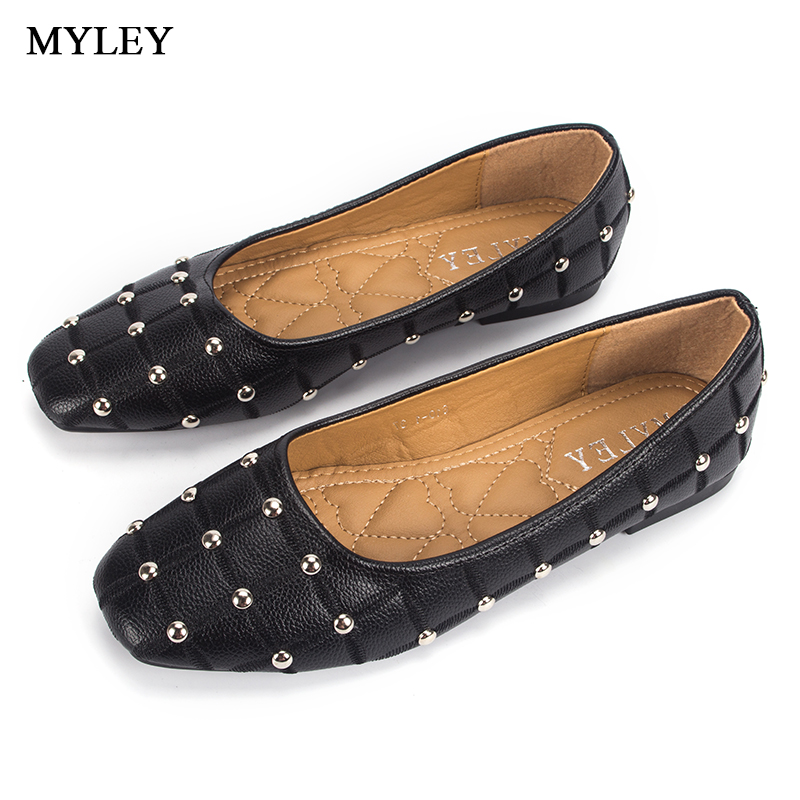 MYLEY Women 2017 Brand Flat Shoes Spring Autumn Shallow Shoes Ladies Casual Fashion Slip-on Leather Flats with Rivet Moccasins eiswelt shoes spring summer fashion rivet flats party pointed flock women shoes wedding shoes glitter flat ladies shoes zjf84