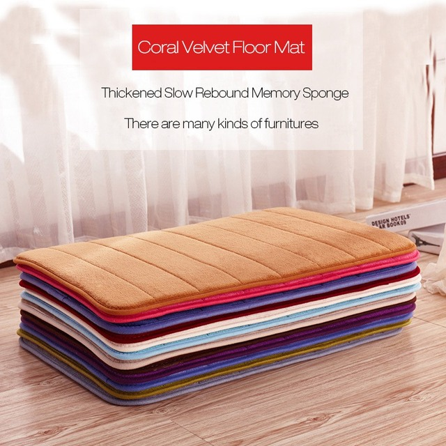 Memory Foam Coral Velvet Non Slip Bathroom Magnificent 40x60cm 50x80cm Fleece Bath Mat Thickened Coral Velvet Memory Foam Rug