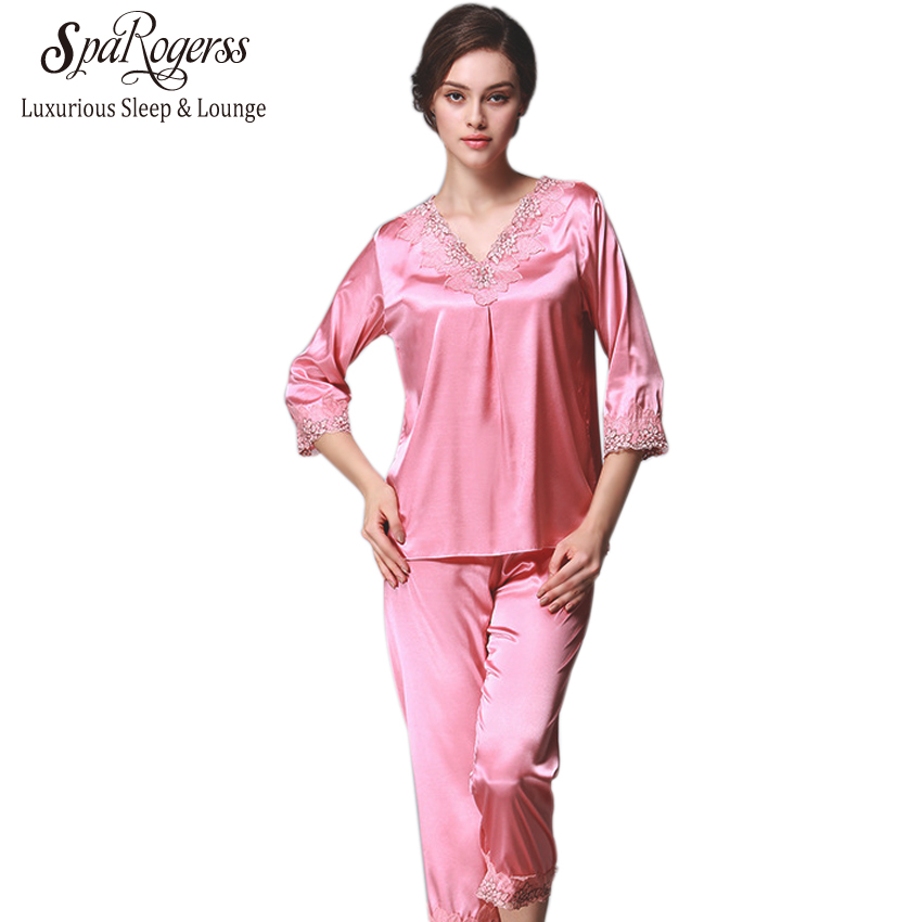 New Women Pajama Set 2017 SpaRogerss Brand Pyjamas for Ladies Faux Silk Satin Sleep Lounge Home Pants Lace Woman Pajamas YT028