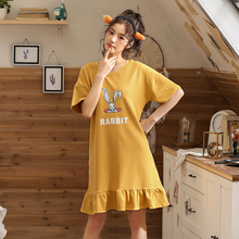 Women nightgowns Summer Short Sleeve Woman Nightdress Thin Section Girl Student Leisure loose Home Furnishing sleepwear Hot Sale