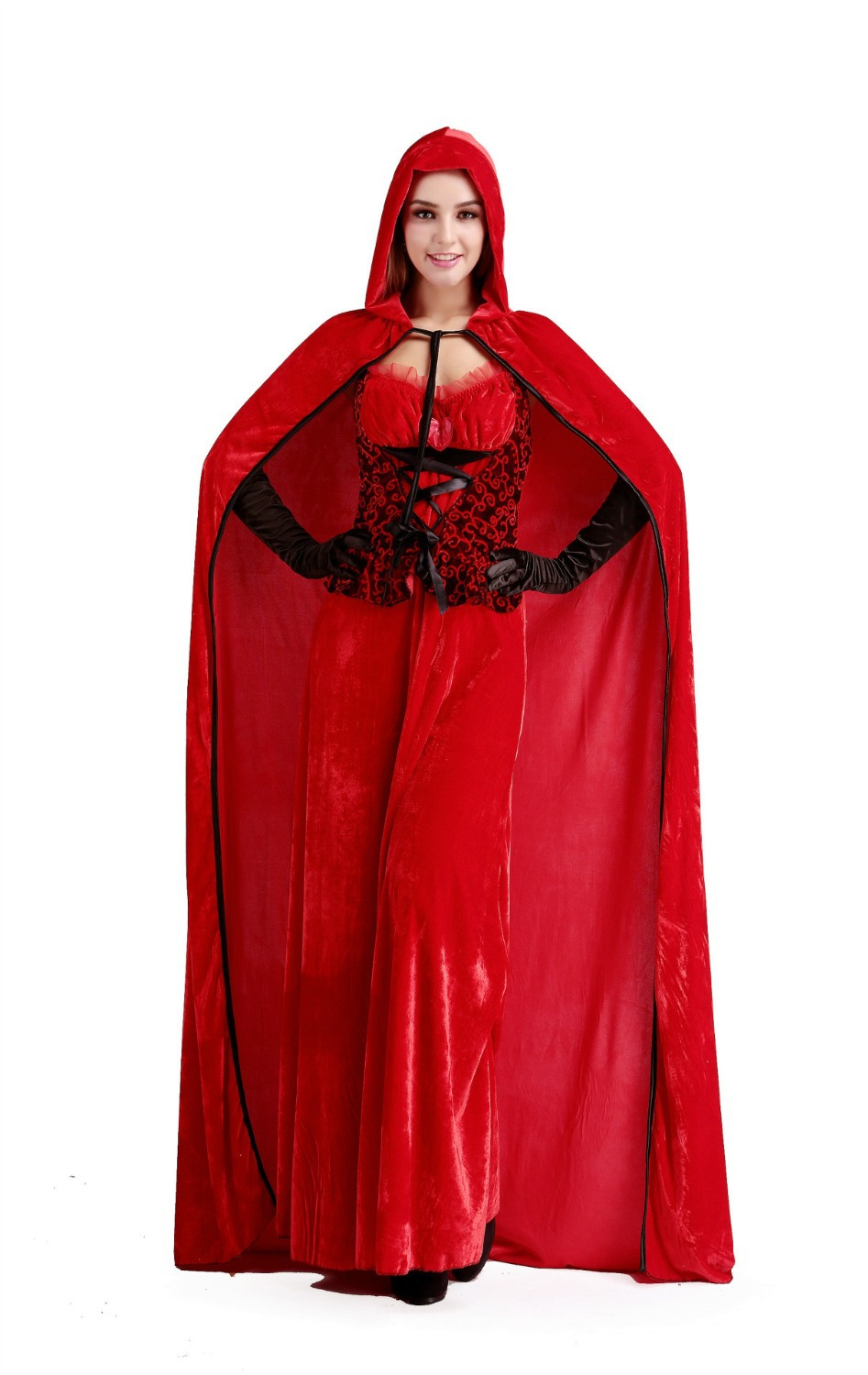 Europe and America Deluxe Gothic Red Little Red Riding Hood robes longue sexie Ladies Fancy long Dress Halloween Cosplay Costume