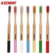 AZDENT 10 шт./лот, Бамбуковая зубная щетка с двойной ультрамягкой щетиной, Экологичная деревянная ручка, TeethBrush с антибактериальными щетинами