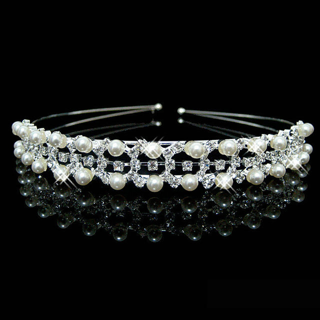 New Shiny Crystal Rhinestone Pearl Headband Silver Wedding Party Tiara Hair bands Bridal Hair Accessories Flower Girls Hairwear