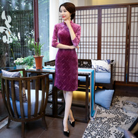 LZJN Chinese Traditional Dress Spring Women Dress Vestidos Autumn Cheongsams Tang Suit Qipao Party Dress Size