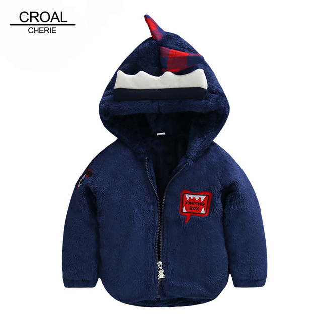 70-120cm Plus Velvet Warm Girls Winter Coat Cute Dinosaur Costume Fleece Children's Winter Kids Boy Jackets Baby Clothing