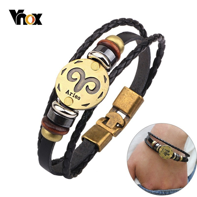 Vnox 12 Horoscope Leather Bracelet Men Jewelry Vintage Retro Charm Bracelet Male Jewelry 8.2