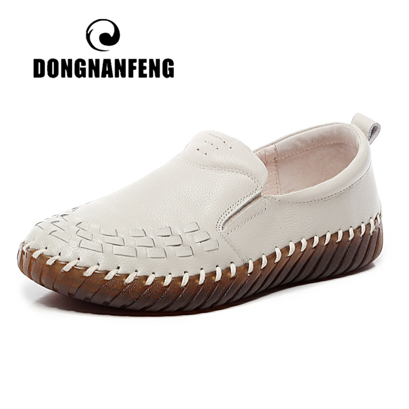DONGNANFENG Women Old Mother Shoes Flats Cow Genuine Leather Loafers High Quality Pigskin Rubber Slip On