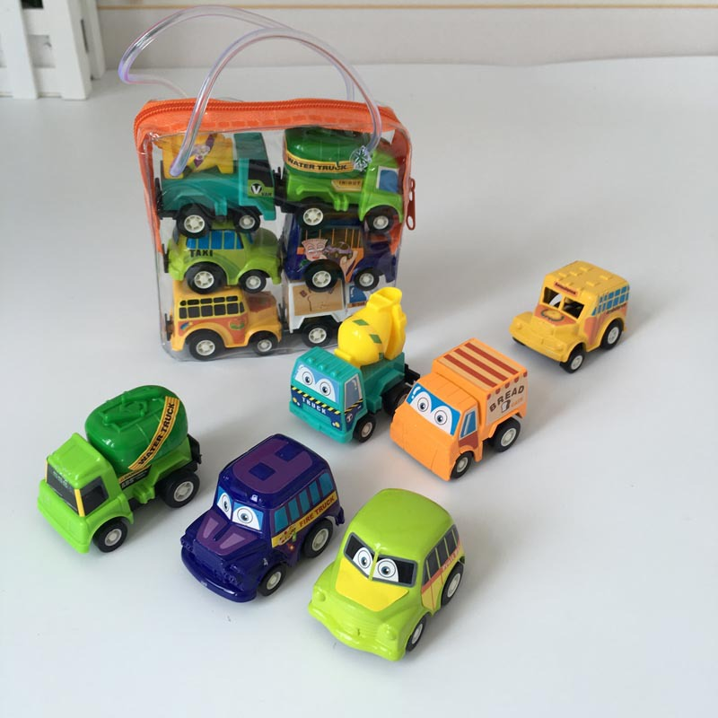 6pcs/lot Pull Back Car Toys Children Racing Car Baby Mini Cars Cartoon Pull Back Bus Truck Kids Toys For Children Gifts G0164