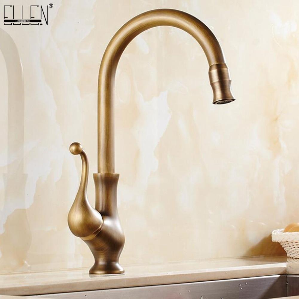 Antique Brass Finish Kitchen Faucet Bronze Single Handle Hot and Cold Water Sink Tap 360 Swivel Bathroom Sink Mixer Taps EK5013