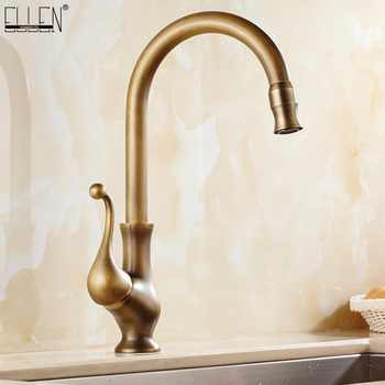 Antique Brass Finish Kitchen Faucet Bronze Single Handle Hot and Cold Water Sink Tap 360 Swivel Bathroom Sink Mixer Taps EK5013 - DISCOUNT ITEM  38% OFF All Category