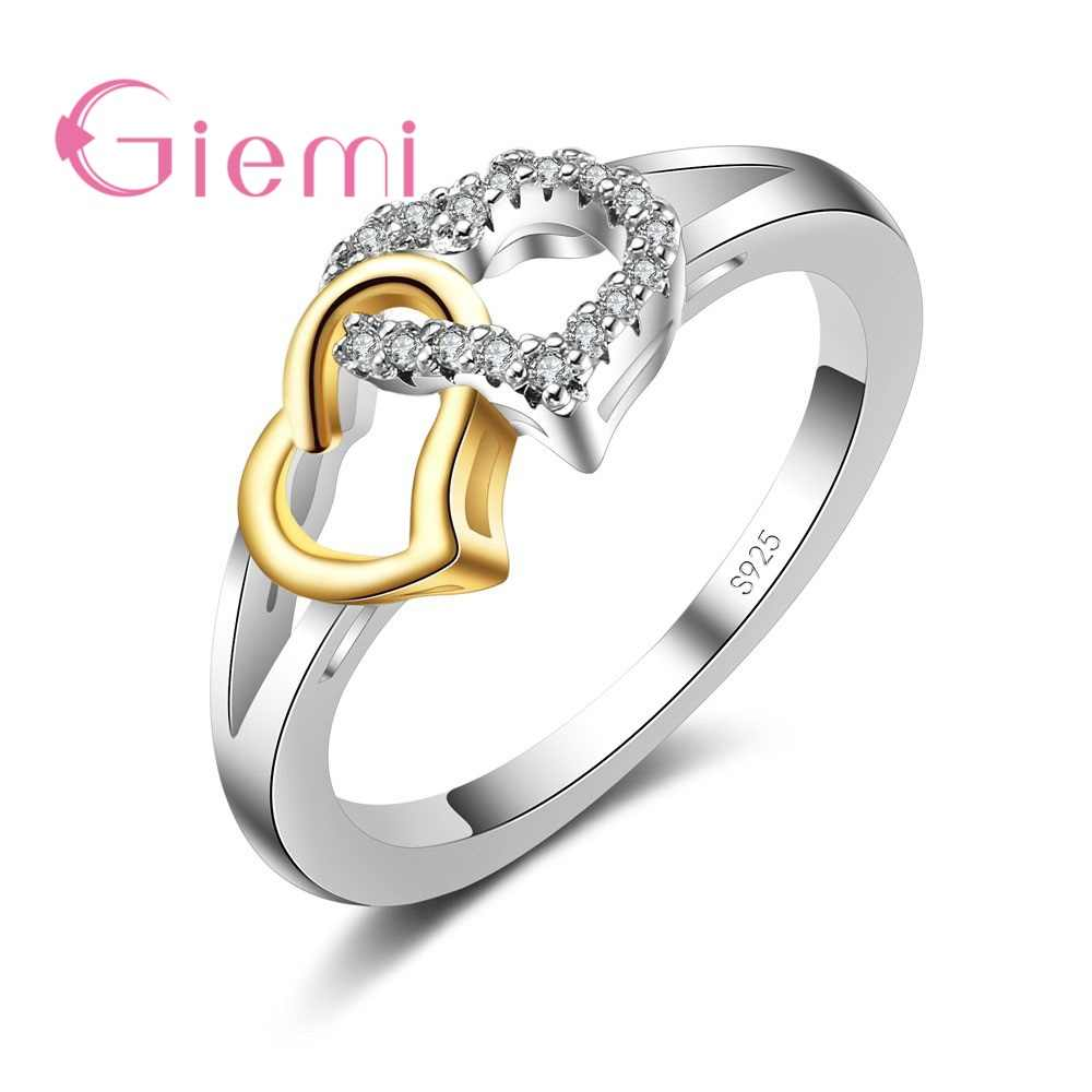 100% 925 Sterling Silver Romantic Heart to Heart AAA CZ Finger Ring for Women Wedding Engagement Jewelry Hot Wholesale